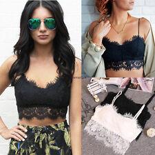 Women Lace Bralette Bralet Bra Bustier Crop Top Cami Tank Tops Blouse White S
