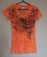 Harley-Davidson Las Vegas Womens T-Shirt Small Orange Black Rhinestones 2013