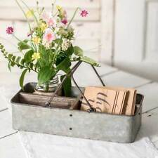 Galvanized Metal Ava Divided Stationery Caddy with Handles Decorative Tray
