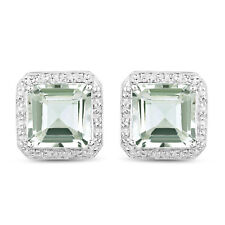 Stud Earrings 9.16 ct Genuine Green Amethyst & White Diamond 925 Sterling Silver