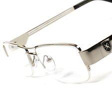 Cool Designer Casual Smart Nerd Clear Lens Silver Mens Women Eye Glasses B8A