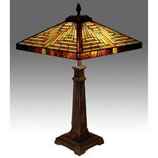 TIFFANY STYLE PYRAMID ART DECO 62CM TABLE LAMP GLASS SHADE 40.5CM FREE BULBS
