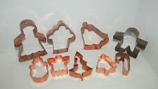 Lot 9 copper cookie cutters LARGE bell gingerbread man woman Christmas tree cane