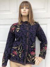 ICELANDIC Design Womens Purple Wool Nordic Lined Cardigan Sweater Jacket Coat S