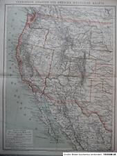 Landkarte USA Westküste, westliche Hälfte, BH 13., 1887