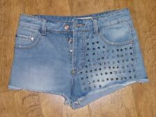 Glamorous BLU SILVER Spike Borchie Pantaloncini Di Jeans Uk 10