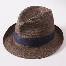 NWT $750 BRIONI Light Brown Woven Linen Trilby Hat L (58cm) Fedora