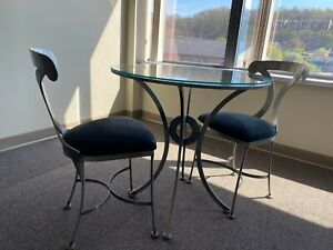 Stainless steel and glass 30 inch round table set