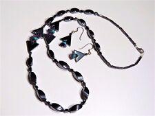 Vintage MAGNETIC HEMATITE Black rice bead, Purple Turquoise NECKLACE & EARRINGS