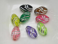 200 Mixed Colour Sparkling Silver Stripes Acrylic Oval Tube Beads 8X13mm