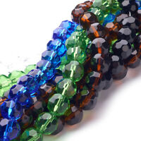 10 Strds Transparent Glass Beads Faceted Round Colorful Loose Bead Crafting 10mm