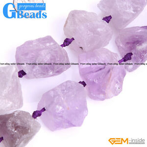 Natural Freefrom Crude Raw Amethyst Loose Beads For Jewelry Making Strand 15""