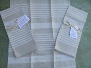 Studiopatro Life is Delicious Linen Tea Towel 3pc Set New