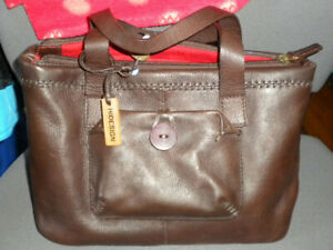 Hidesign bag, thick brown leather tote, very good conditio