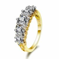 Vintage 925 Silver Yellow Gold Plate White Topaz Band Wedding Ring Wholesale !!