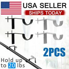 2Pcs Metal Single Hang Curtain Rod Holders Bracket Into Window Frame Rod Bracket