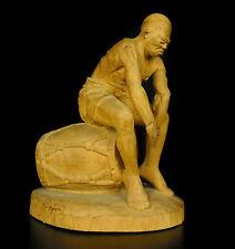 Ancien Joueur de tam tam player Africa Sculpture en bois art populaire folk art