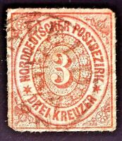 CatalinaStamps: Northern German Confederation Stamp #9a Used, SCV=$100, #A136
