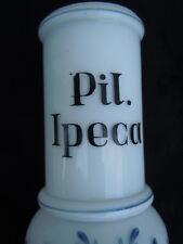 Flacon apothicaire Ipeca pot pharmacie opaline Pil. Ipeca d'époque 19ème
