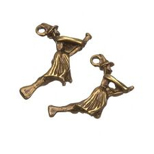 Antique Brass Flying Witch Halloween Charm Pendants 22mm Pack of 2 (C92/14)