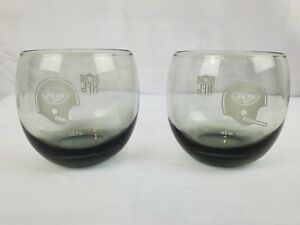 New York Jets NFL VINTAGE Cocktail Glass Roly Poly low ball Set of TWO (2)