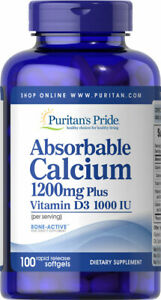 Puritan's Pride Absorbable Calcium 1200 mg with Vitamin D3 1000 IU EXP: 03/2021