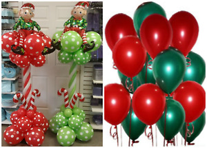 """Merry Christmas party 12"""" -10"""" Latex Balloons Pack of 10 - 100 Green and Red mix"""