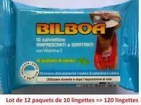 12 paquets de 10 LINGETTES BILBOA Rafraichissante, Hydratante, Parfum Menthe ...