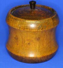 More details for antique wooden turned carved tobacco jar, metal lining h:10cm [21540]