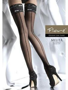FIORE MELITA PATTERNED HOLD UP STOCKINGS 3 SIZES FINE EUROPEAN HOSIERY SAND