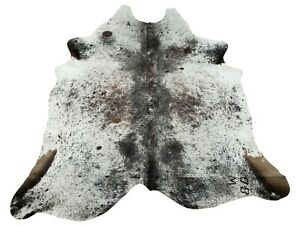 Speckled Cowhide Rug Brown Black White Tricolor Brazilian 7ft x 7ft