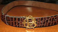 Paul Smith England Alligator Leather Belt PS Initials Buckle Sz S EXC!!