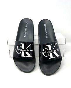 Calvin Klein Premium Comfort Mavett Monogram Logo Slides Sandal Pool Black Men's