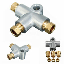 3 Way T Piece Brake Tee + 3 x M10 Male Nuts Short Metric Copper Pipe 10mm