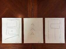 Abstract Pencil Drawing Triptych Signed Mira Schendel Minimalism c. 64 Set of 3