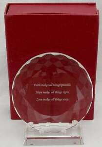"""""""Faith"""" Laser Etched 5.25"""" Optical Glass Plaque & Stand"""
