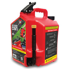 SureCan 5 Gallon Controlled Flow Gasoline Fuel Can with Rotating Nozzle, Red