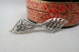 Vintage Lace Bow Brushed Silver Tone Hair Clip
