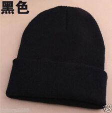 Men's Women Beanie Knit Ski Cap Hip-Hop Blank black Winter Warm Unisex hat Black