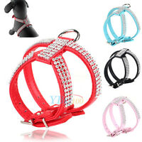 Pets Dog Cat Rhinestone Crystal Chest Strap Harness PU Leather Collar Blue Red H