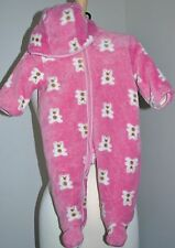 Absorba Winter Snowsuit Plush Fleece Girl's 3-6M Pink Teddy Bears One Piece