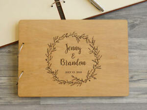 Wedding Guest Book Wood Guestbook Custom Engraved Wedding Reception Book Rustic