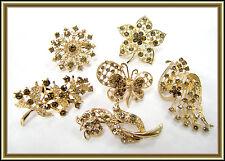 6 pc Rhinestone Gold Tone BROOCH PIN Wedding