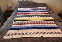"""Vintage Afghan Multicolor Rows Crochet Blanket Handmade Throw ~ 40"""" X 58"""""""
