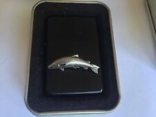 F10 Small Salmon  emblem on a flip top petrol lighter windproof black refillable