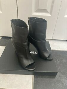 NIB 100% AUTH Chanel 14P Black Lambskin Open Toe Pearl Heel Short Boots Sz 36