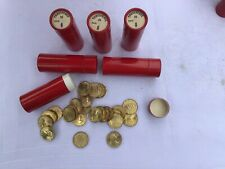 More details for old threepenny coins in 6 red cardboard tubes, 1967, 150 coins.
