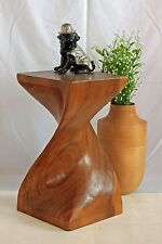 Wooden Helix Twist small side table stool lamp plant speaker stand. XLarge/HB
