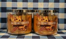 SALTED BUTTERSCOTCH 3 Wick Candle x2 Bath & Body Works White Barn