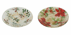Village Candle 16cm Frosted Candle Plates - Holly or Poinsettia Design
